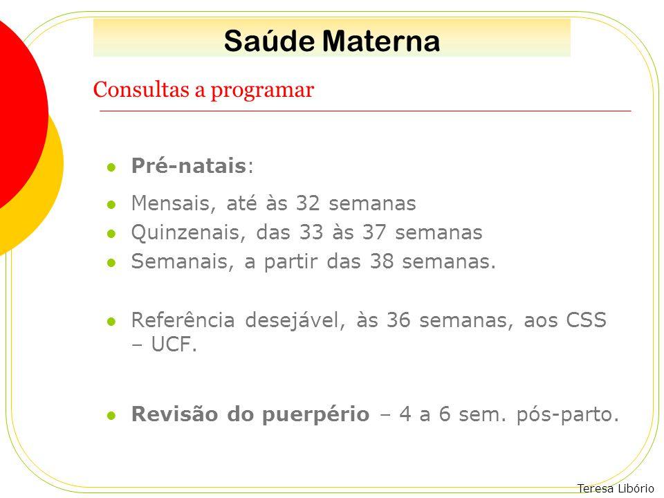 Saúde Materna Consultas a programar Pré-natais: