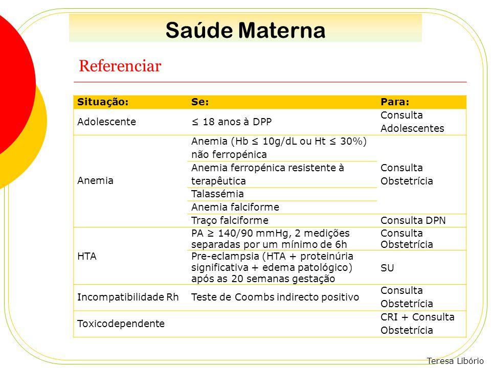 Saúde Materna Referenciar Situação: Se: Para: Adolescente