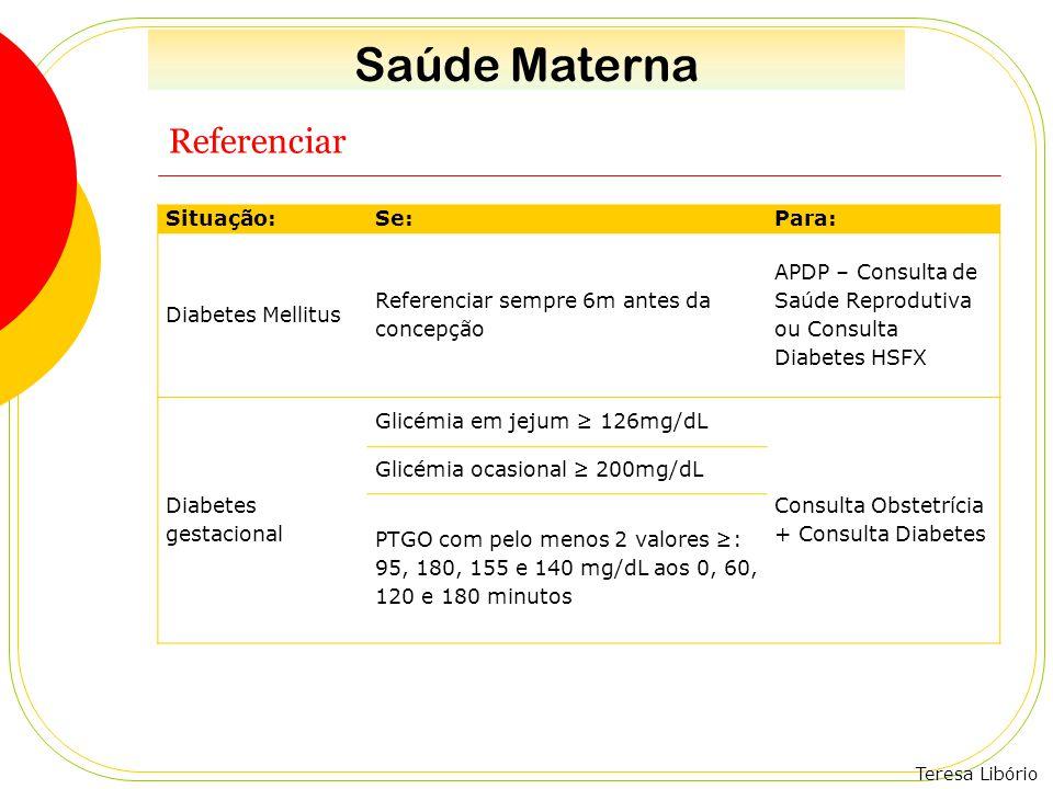 Saúde Materna Referenciar Situação: Se: Para: Diabetes Mellitus