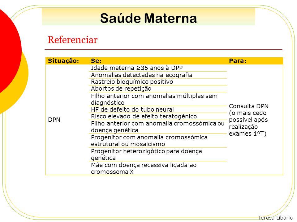 Saúde Materna Referenciar Situação: Se: Para: DPN