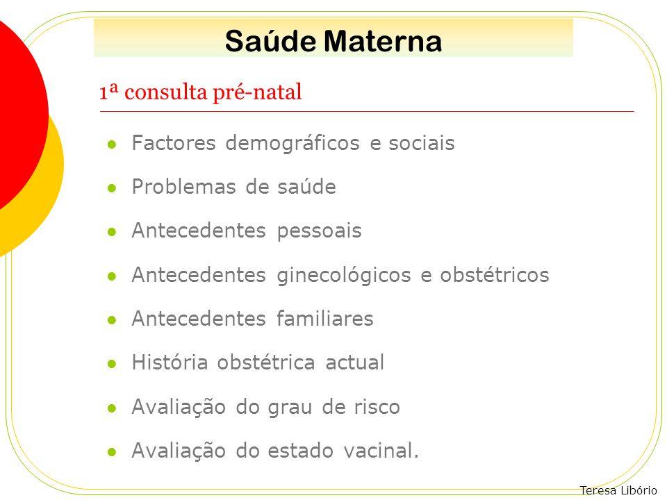 Saúde Materna 1ª consulta pré-natal Factores demográficos e sociais