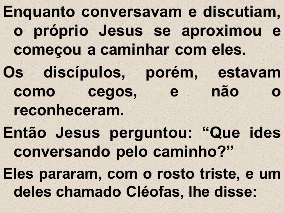 Os discípulos, porém, estavam como cegos, e não o reconheceram.
