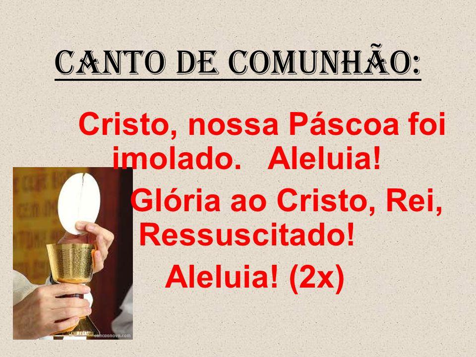 CANTO DE COMUNHÃO: Glória ao Cristo, Rei, Ressuscitado! Aleluia! (2x)