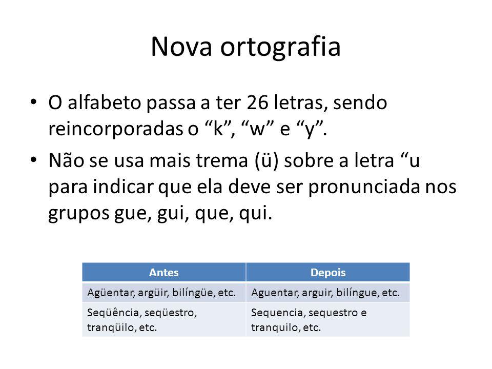 Nova ortografia O alfabeto passa a ter 26 letras, sendo reincorporadas o k , w e y .