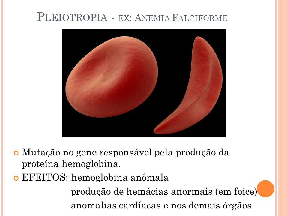 Pleiotropia - ex: Anemia Falciforme