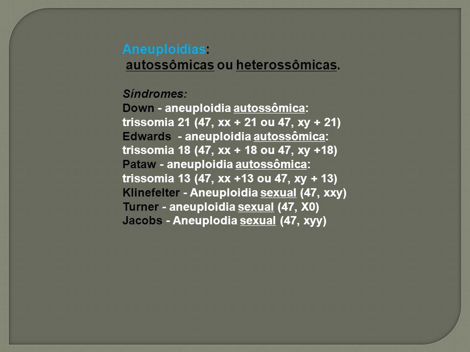 autossômicas ou heterossômicas. Síndromes: