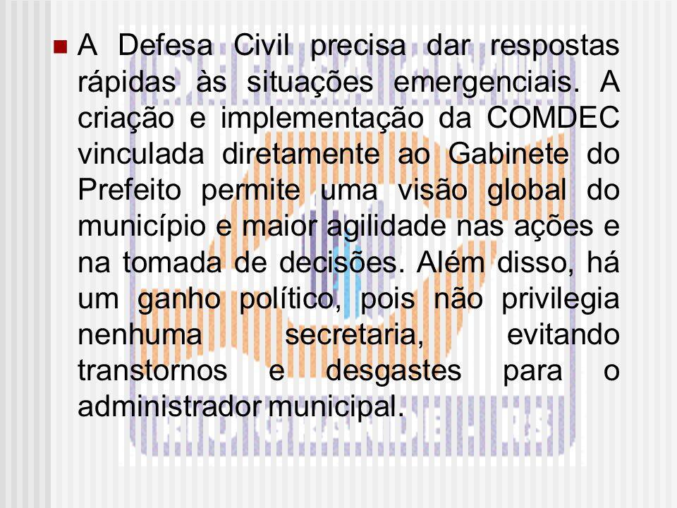 A Defesa Civil precisa dar respostas rápidas às situações emergenciais