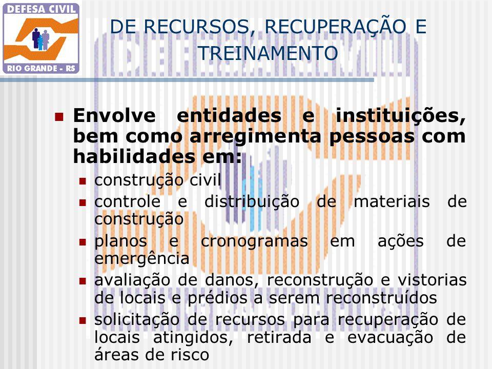 DE RECURSOS, RECUPERAÇÃO E TREINAMENTO