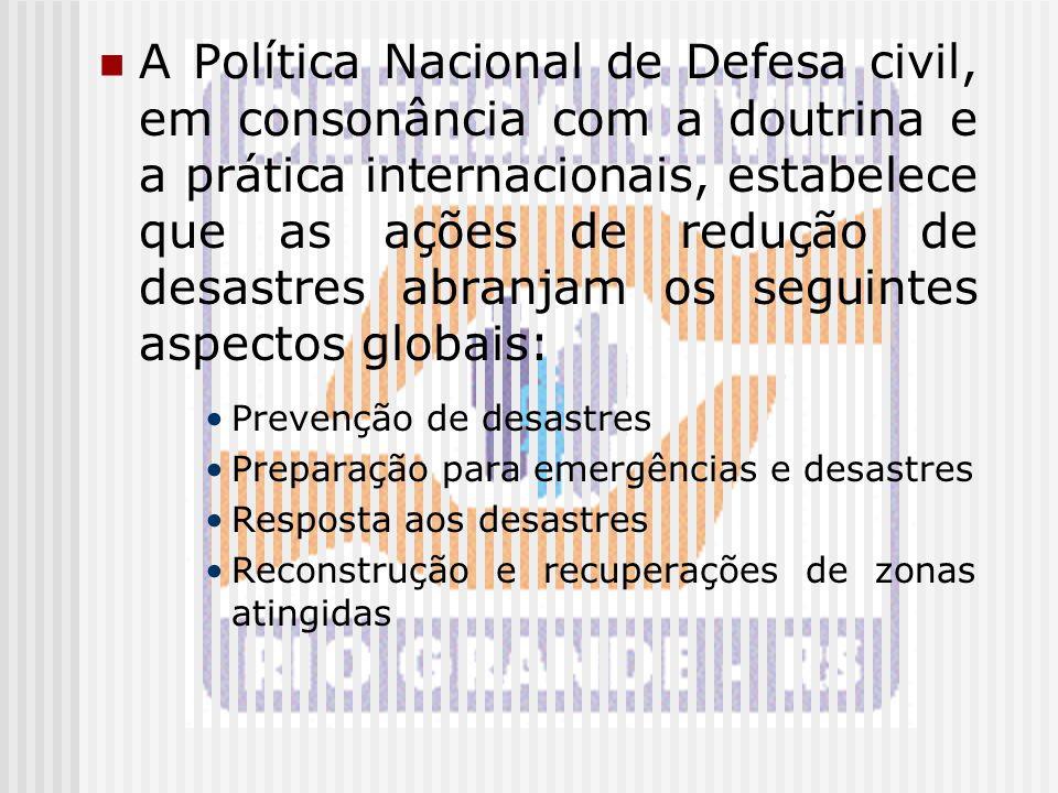 A Política Nacional de Defesa civil, em consonância com a doutrina e a prática internacionais, estabelece que as ações de redução de desastres abranjam os seguintes aspectos globais: