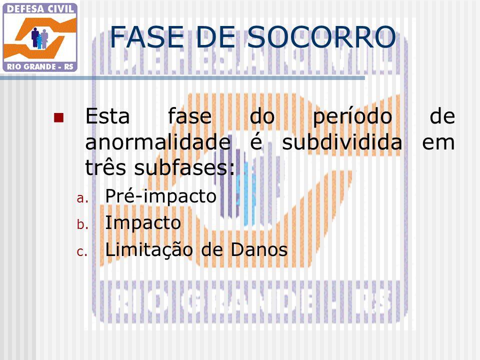 FASE DE SOCORRO Esta fase do período de anormalidade é subdividida em três subfases: Pré-impacto. Impacto.