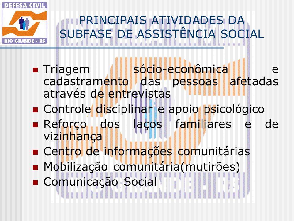 PRINCIPAIS ATIVIDADES DA SUBFASE DE ASSISTÊNCIA SOCIAL