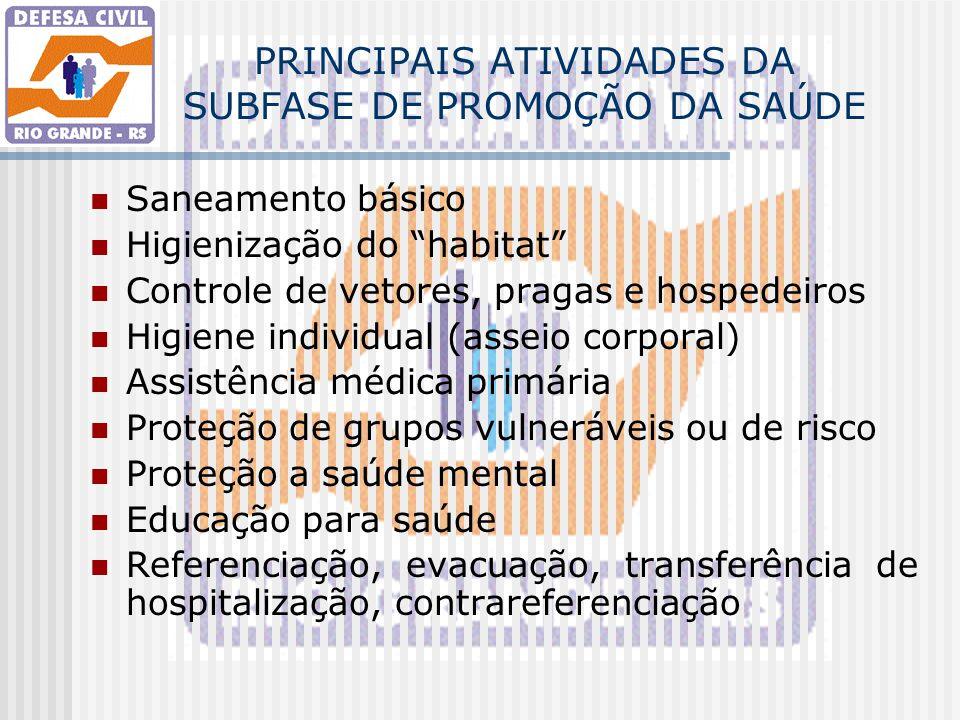PRINCIPAIS ATIVIDADES DA SUBFASE DE PROMOÇÃO DA SAÚDE