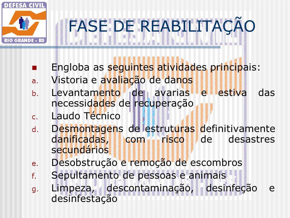 FASE DE REABILITAÇÃO Engloba as seguintes atividades principais: