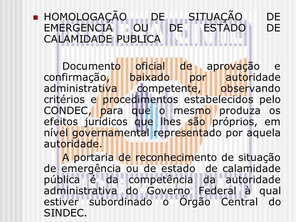 HOMOLOGAÇÃO DE SITUAÇÃO DE EMERGENCIA OU DE ESTADO DE CALAMIDADE PUBLICA