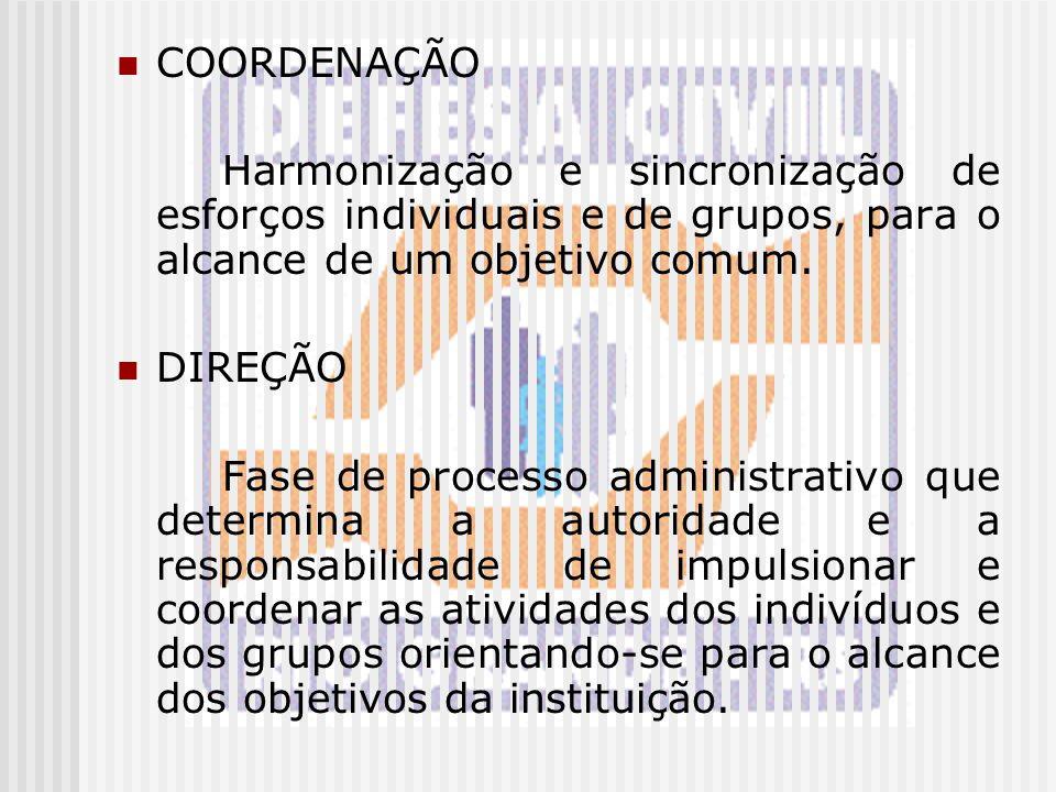 COORDENAÇÃO Harmonização e sincronização de esforços individuais e de grupos, para o alcance de um objetivo comum.
