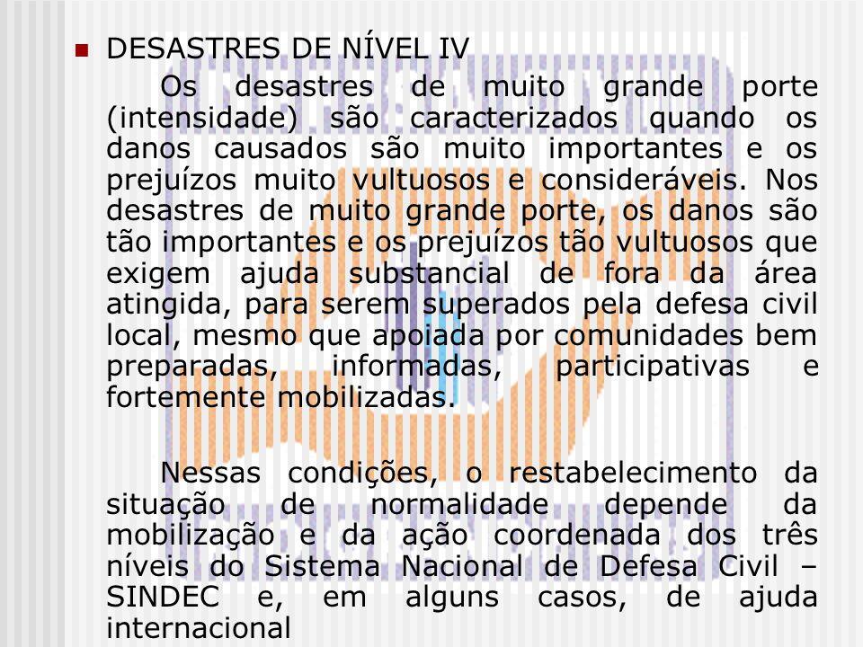 DESASTRES DE NÍVEL IV