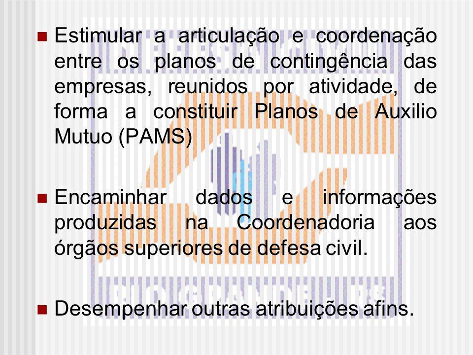 Estimular a articulação e coordenação entre os planos de contingência das empresas, reunidos por atividade, de forma a constituir Planos de Auxilio Mutuo (PAMS)