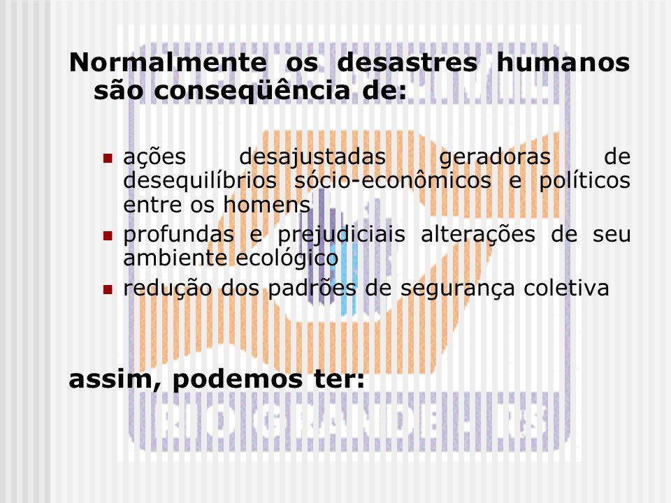 Normalmente os desastres humanos são conseqüência de:
