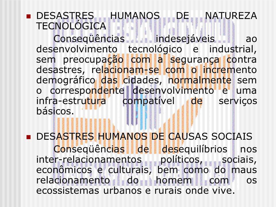 DESASTRES HUMANOS DE NATUREZA TECNOLÓGICA