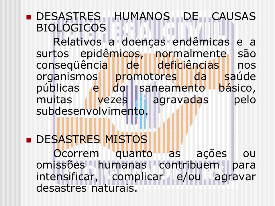 DESASTRES HUMANOS DE CAUSAS BIOLÓGICOS