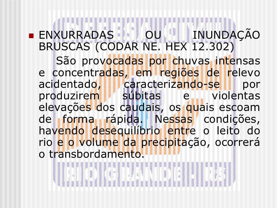 ENXURRADAS OU INUNDAÇÃO BRUSCAS (CODAR NE. HEX 12.302)