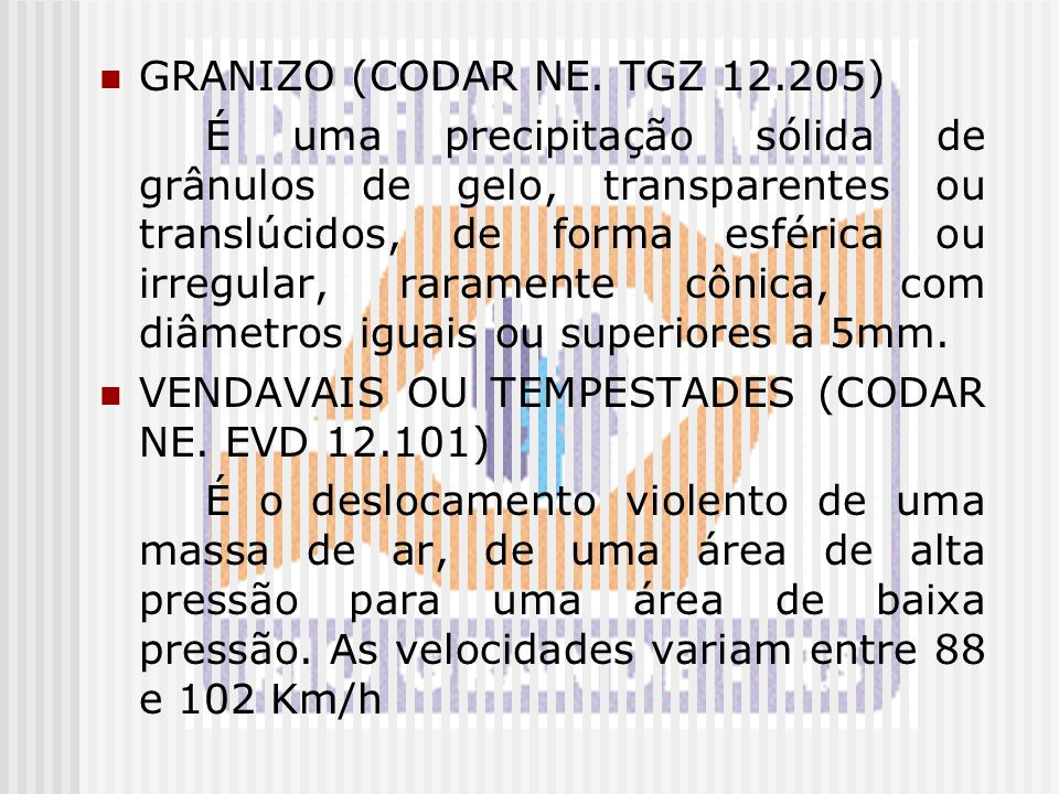 GRANIZO (CODAR NE. TGZ 12.205)