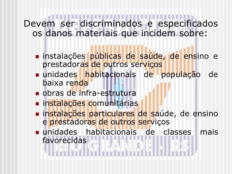 Devem ser discriminados e especificados os danos materiais que incidem sobre: