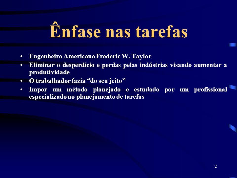 Ênfase nas tarefas Engenheiro Americano Frederic W. Taylor
