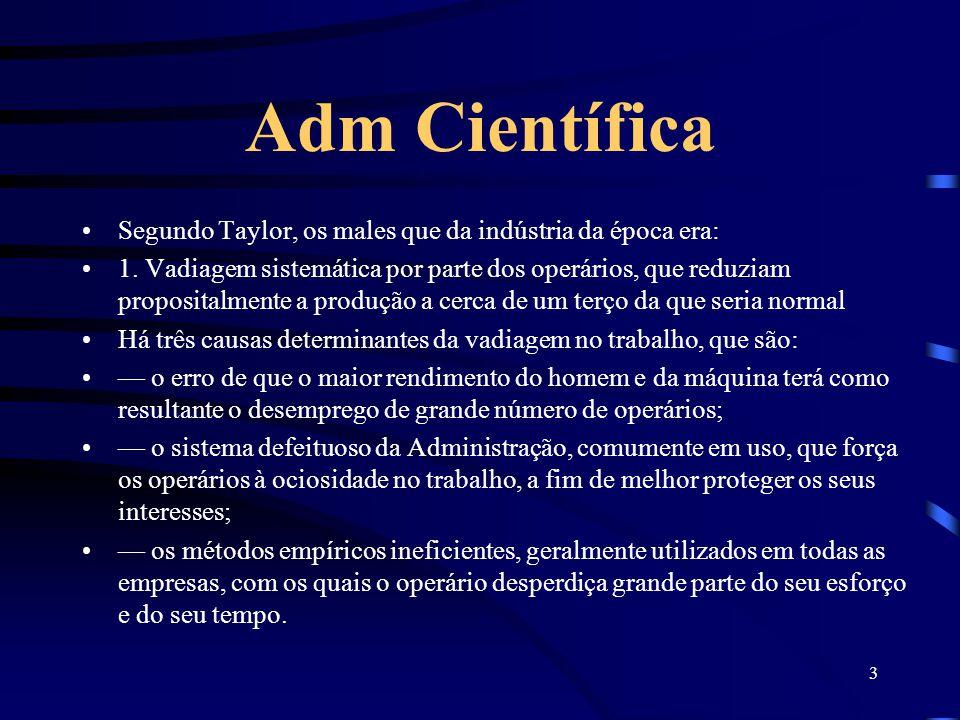 Adm Científica Segundo Taylor, os males que da indústria da época era: