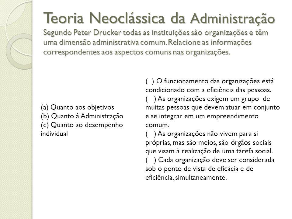 Teoria Neoclássica da Administração Segundo Peter Drucker todas as instituições são organizações e têm uma dimensão administrativa comum. Relacione as informações correspondentes aos aspectos comuns nas organizações.