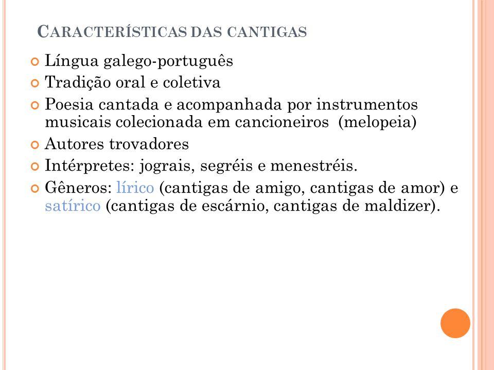 Características das cantigas
