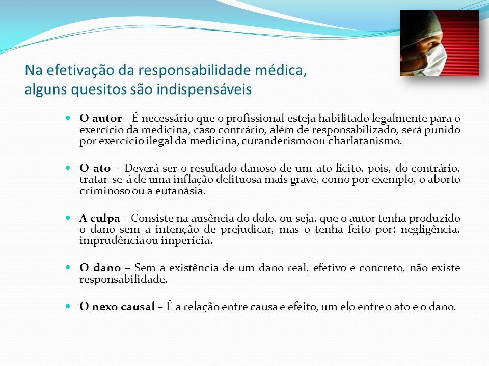 Na efetivação da responsabilidade médica, alguns quesitos são indispensáveis