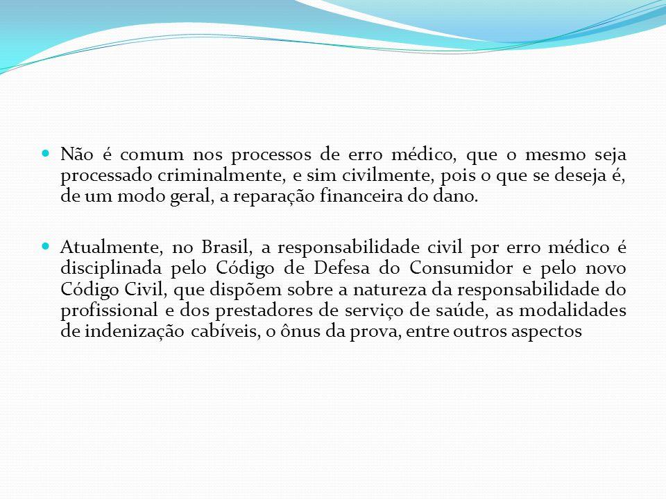 Não é comum nos processos de erro médico, que o mesmo seja processado criminalmente, e sim civilmente, pois o que se deseja é, de um modo geral, a reparação financeira do dano.