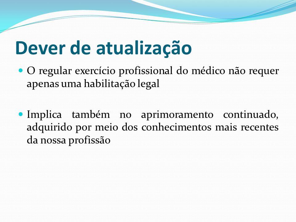Dever de atualização O regular exercício profissional do médico não requer apenas uma habilitação legal.