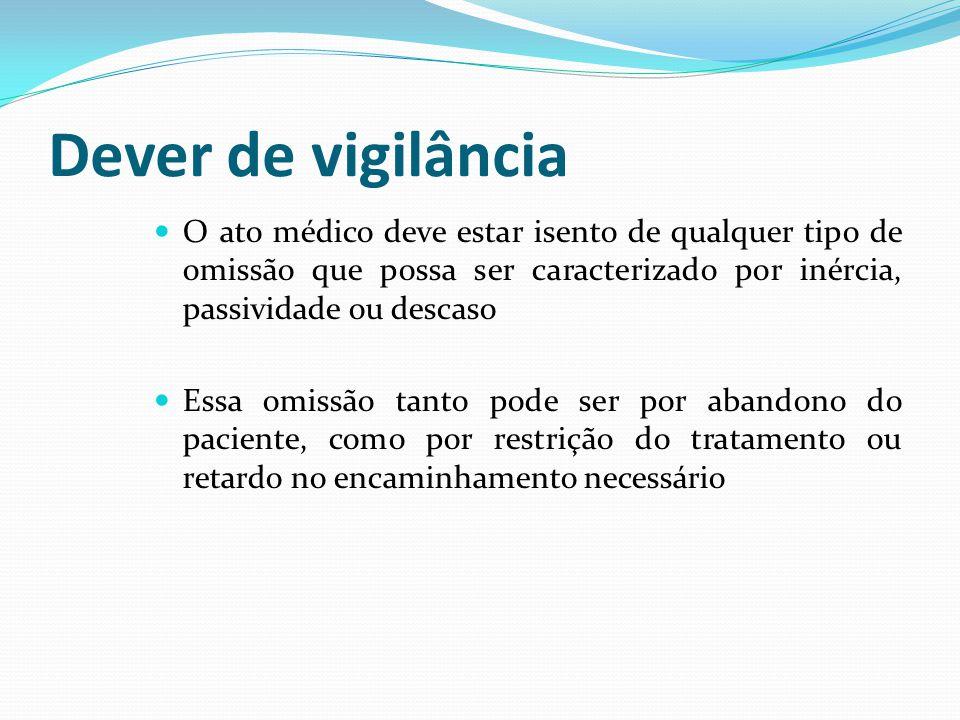 Dever de vigilância O ato médico deve estar isento de qualquer tipo de omissão que possa ser caracterizado por inércia, passividade ou descaso.
