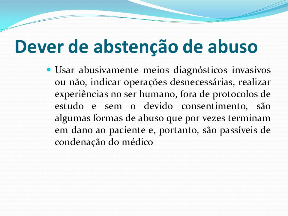 Dever de abstenção de abuso