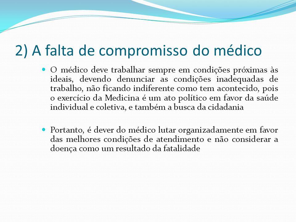 2) A falta de compromisso do médico