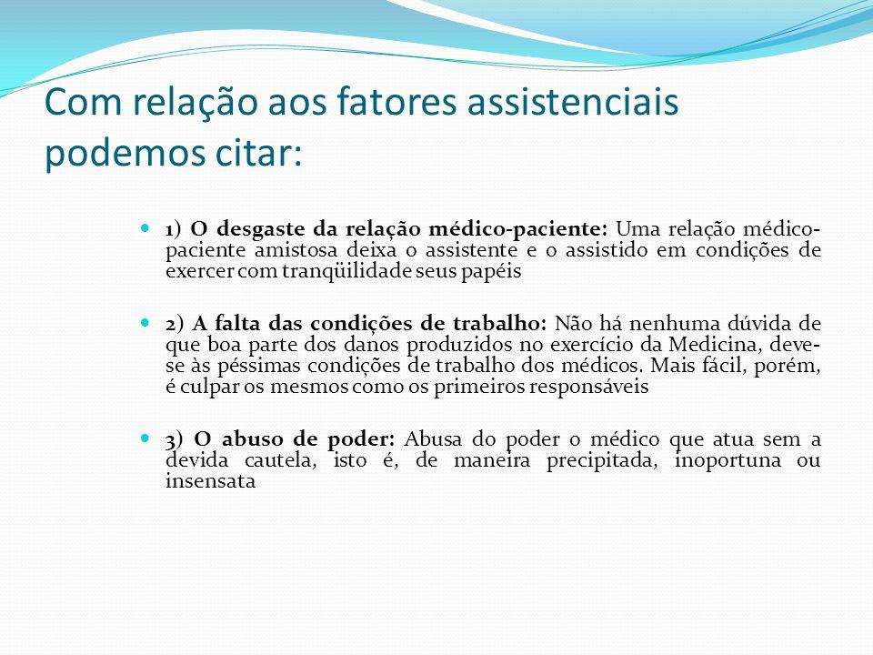 Com relação aos fatores assistenciais podemos citar: