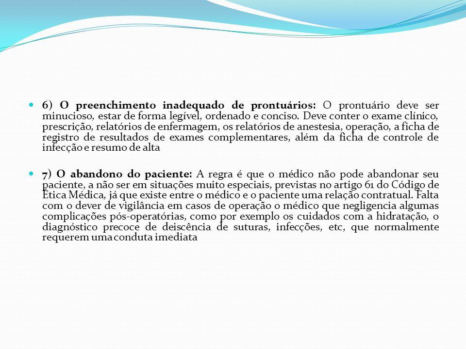 6) O preenchimento inadequado de prontuários: O prontuário deve ser minucioso, estar de forma legível, ordenado e conciso. Deve conter o exame clínico, prescrição, relatórios de enfermagem, os relatórios de anestesia, operação, a ficha de registro de resultados de exames complementares, além da ficha de controle de infecção e resumo de alta