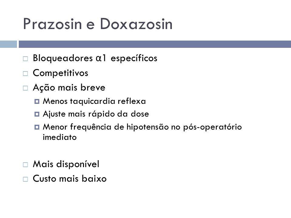 Prazosin e Doxazosin Bloqueadores α1 específicos Competitivos