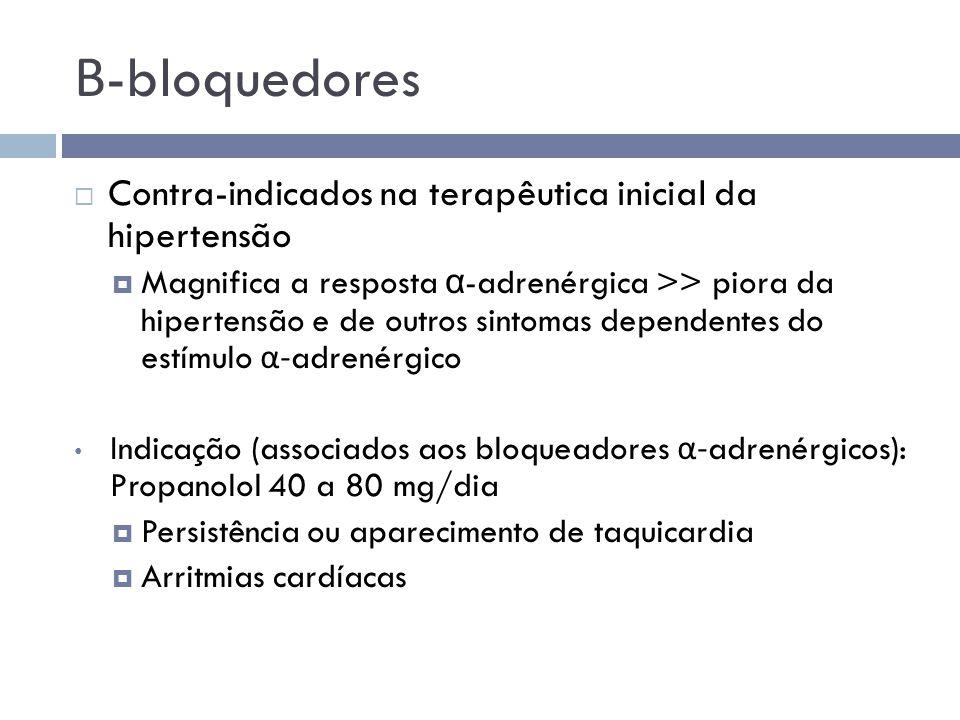 Β-bloquedores Contra-indicados na terapêutica inicial da hipertensão