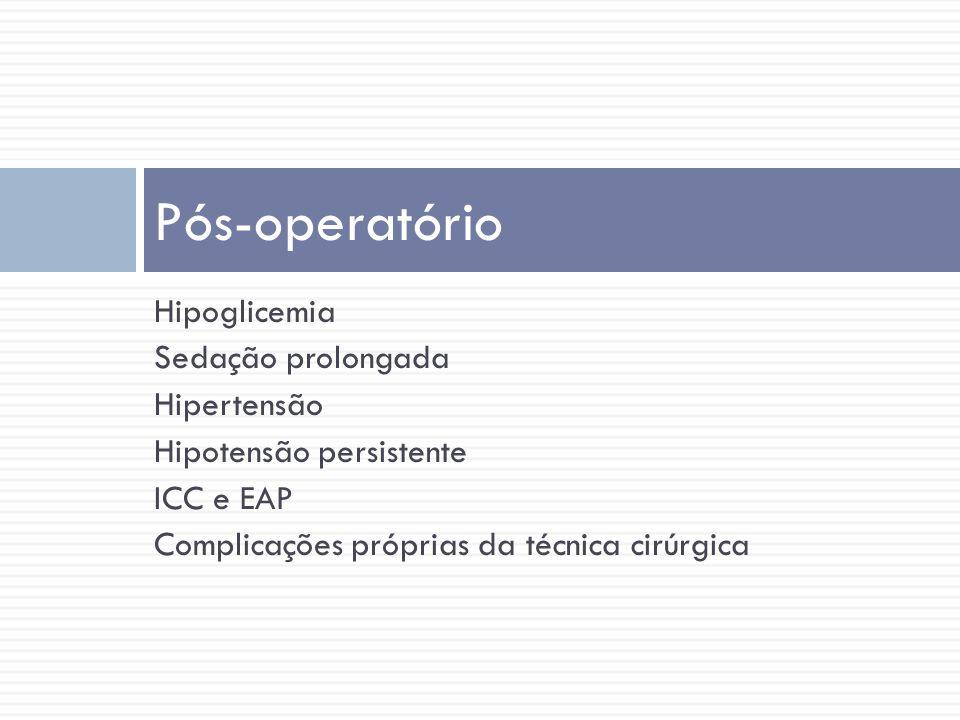 Pós-operatório Hipoglicemia Sedação prolongada Hipertensão
