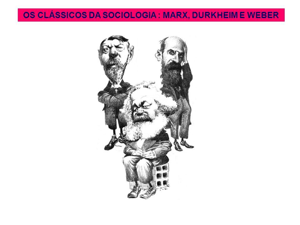 OS CLÁSSICOS DA SOCIOLOGIA : MARX, DURKHEIM E WEBER