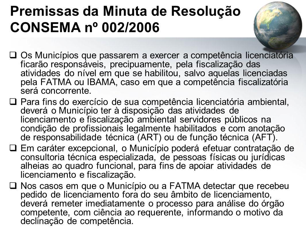 Premissas da Minuta de Resolução CONSEMA nº 002/2006