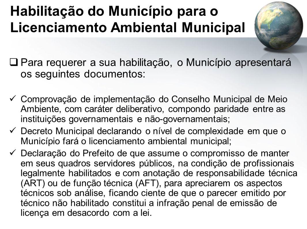 Habilitação do Município para o Licenciamento Ambiental Municipal