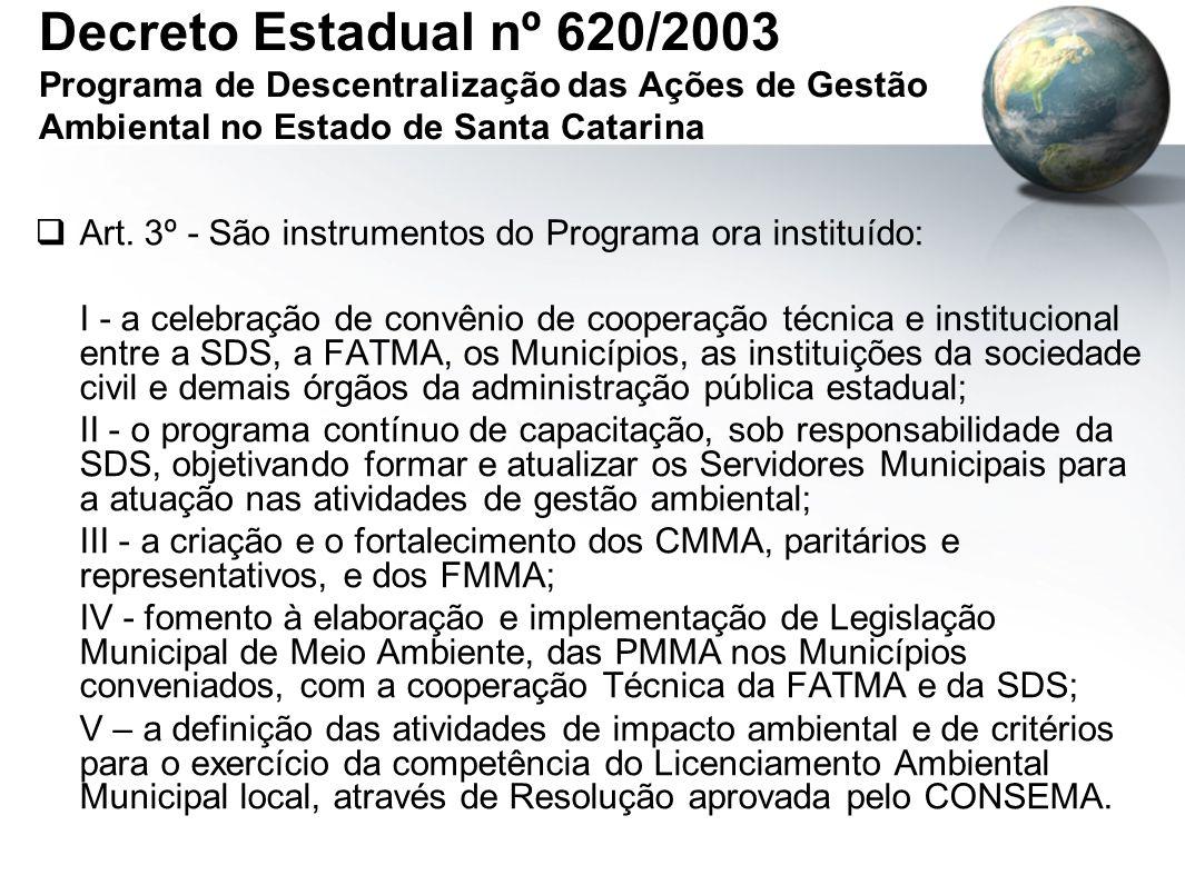 Decreto Estadual nº 620/2003 Programa de Descentralização das Ações de Gestão Ambiental no Estado de Santa Catarina