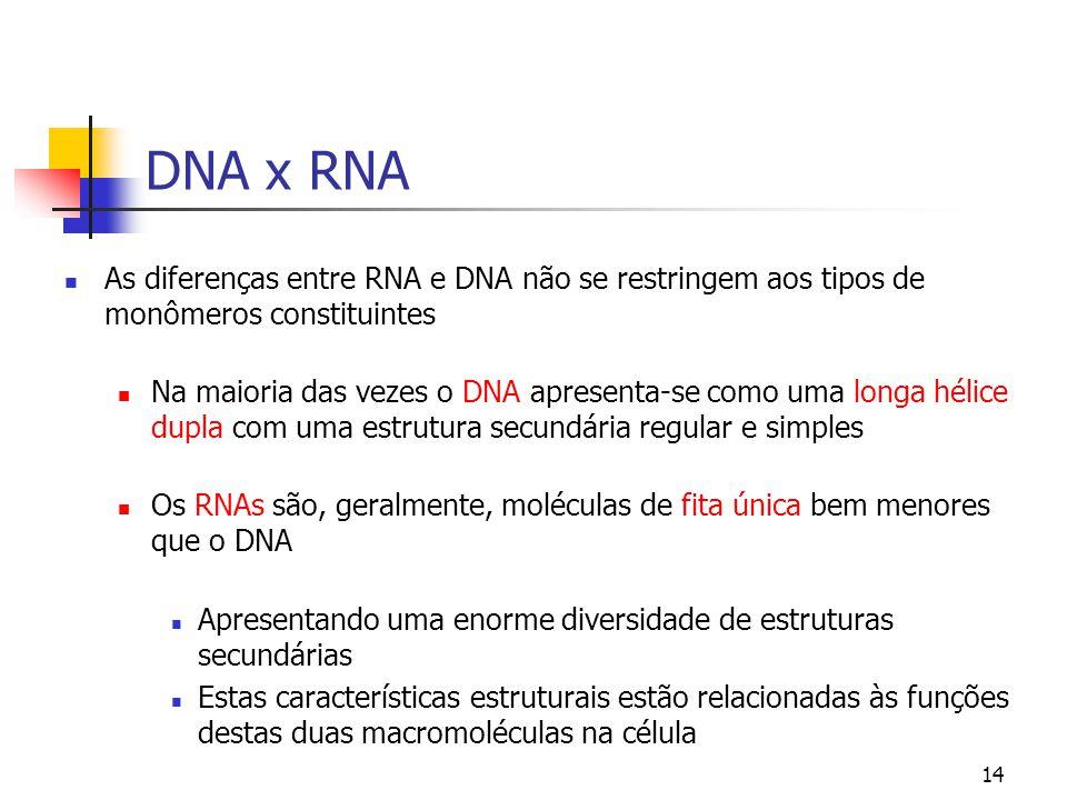DNA x RNA As diferenças entre RNA e DNA não se restringem aos tipos de monômeros constituintes.