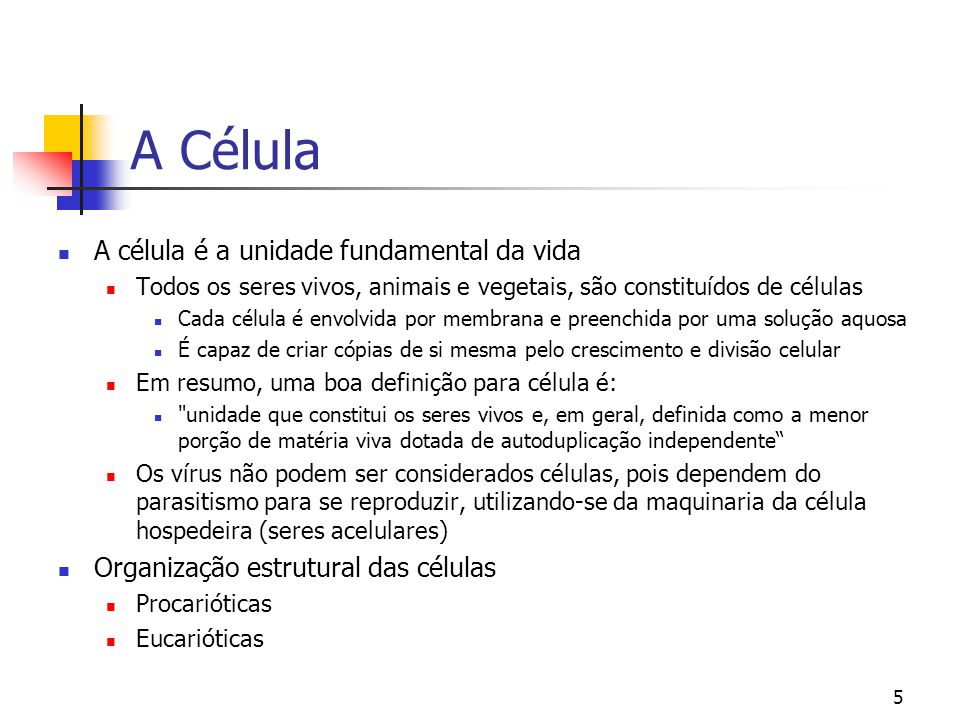 A Célula A célula é a unidade fundamental da vida