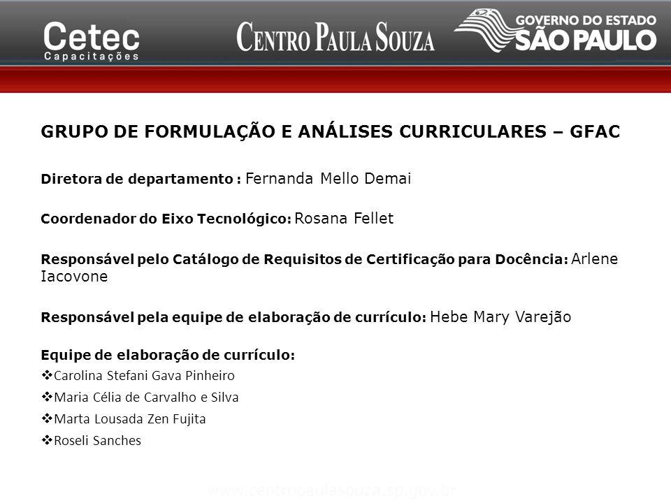GRUPO DE FORMULAÇÃO E ANÁLISES CURRICULARES – GFAC