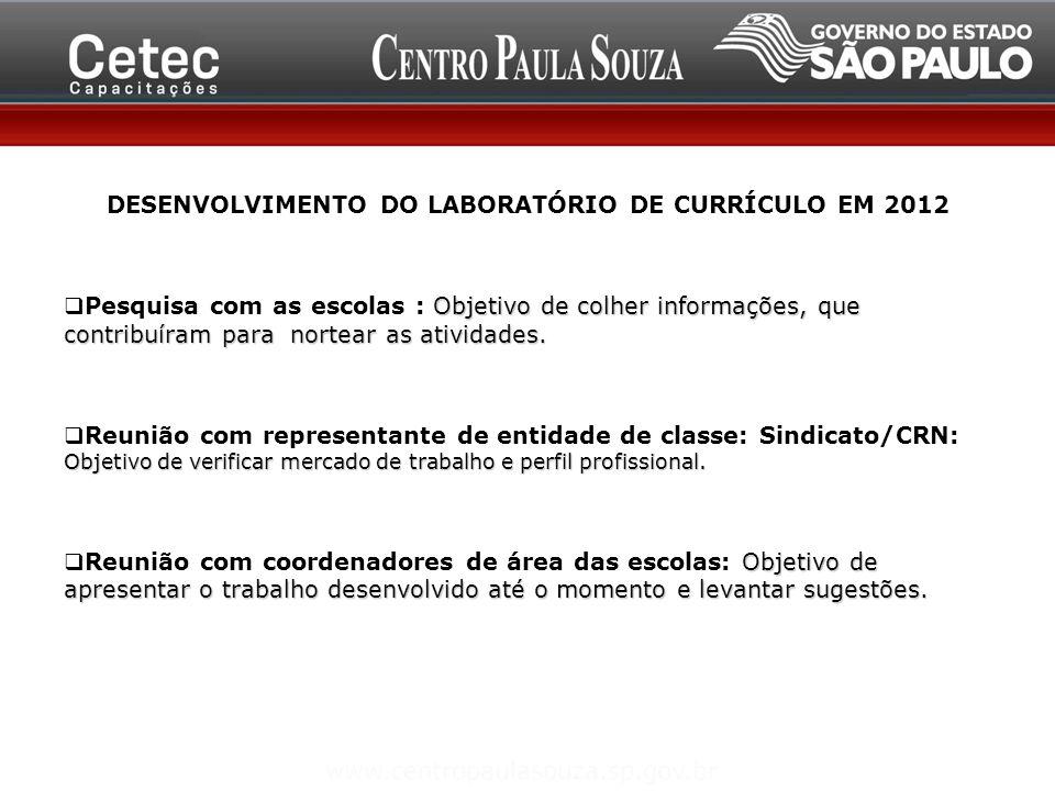 DESENVOLVIMENTO DO LABORATÓRIO DE CURRÍCULO EM 2012